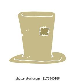 flat color illustration of tramp top hat