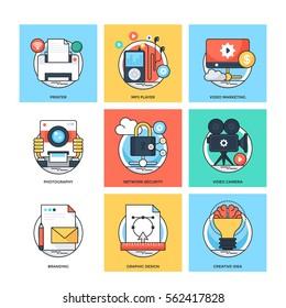 Flat Color Line Design Concepts Vector Icons 32