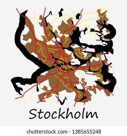 Flat color map of Stockholm, Sweden. All objects are located on separate layers.