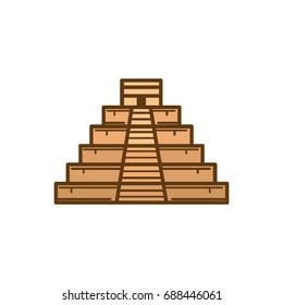 Flat color Mayan Pyramid icon