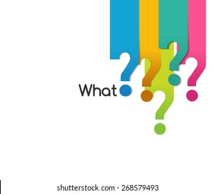 flat color question symbol of what when where why who how, Question mark sign  - vector eps10