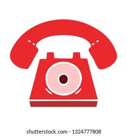 flat color retro cartoon of a red telephone