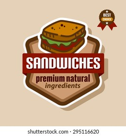 Flat color sandwich icon. Sandwich menu label.