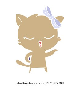 flat color style cartoon cat with bow on head