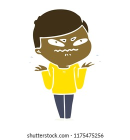 flat color style cartoon exasperated man