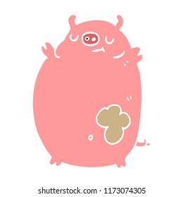 flat color style cartoon fat pig