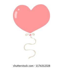 flat color style cartoon love heart balloon