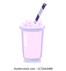 flat color style cartoon milkshake