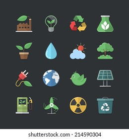 Flat color style Eco Energy icons set