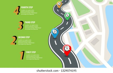 Flat color style Highway road infographic. Street roads map with colorful pins. Vector illustration.
