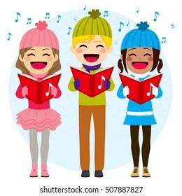 Flat color style illustration of kids singing Christmas carols