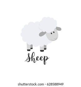 Flat Color Vector Icon With Cute Animal For Baby Products Sheep Cartoon Style