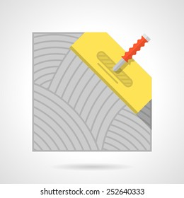 Flat color vector icon for flooring or underfloor heating installation with yellow spatula on white background