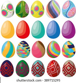 Flat colored Easter eggs vector set on white background. Colorful Easter eggs set with different decorative elements and patterns. Happy Easter design with painted eggs on white background.