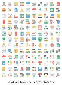 Flat Colored icons set of hosting and cloud computing networks concepts.