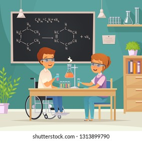 Flat colored inclusion inclusive education cartoon composition two pupils in the laboratory vector illustration