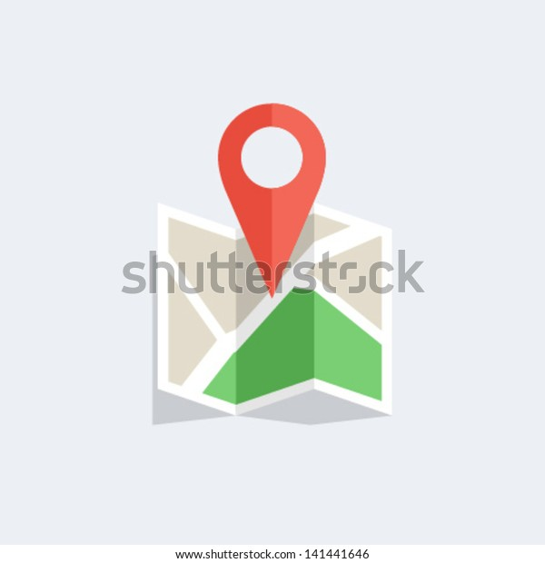 Flat colored location icon