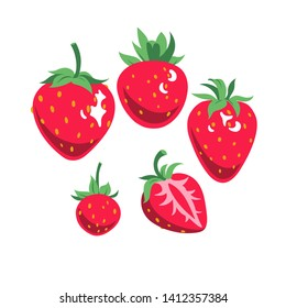 Flat colored red strawberries art set