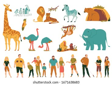 Flat colored set with wild animals birds and visitors with children at zoo isolated vector illustration