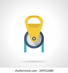Flat colored vector icon for climbing or construction yellow pulley with blue cord on white background.