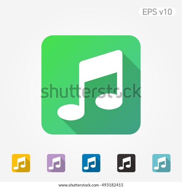 Flat colored vector icon of music symbol on white background with shadow. Include color variations.