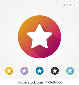 Flat colored vector icon of star on white background with shadow. Include color variations.