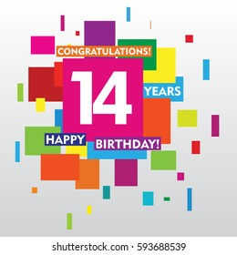 flat colorful abstract square 14 years anniversary. vector design for kids, family, shop, business, and various event