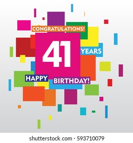 flat colorful abstract square 41 years anniversary. vector design for kids, family, shop, business, and various event