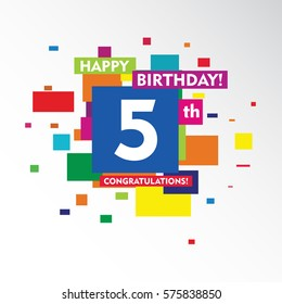 flat colorful abstract square happy Birthday and congratulations 5th vector design fro kids, family, shop, business, and various event