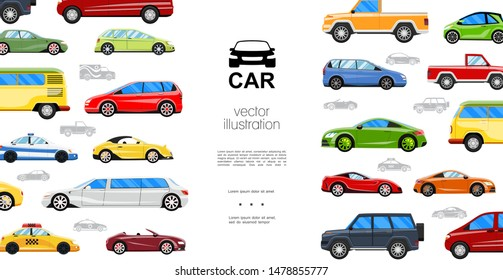Flat colorful automobiles template with travel bus taxi police limousine jeep sedan coupe hatchback roadster cabriolet pickup cars vector illustration
