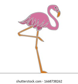 Flat colorful continuous drawing line art pink Flamingo staying on one leg icon vector illustration concept
