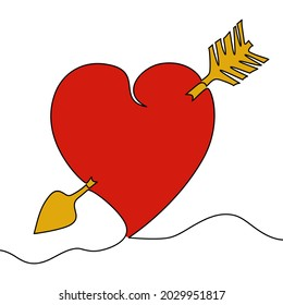 Flat colorful continuous drawing line art Lovestruck or arrow through heart icon vector illustration concept