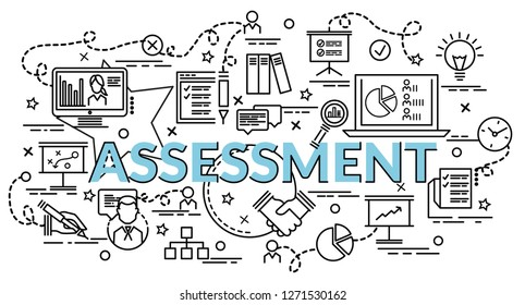 Flat colorful design concept for Assessment. Infographic idea of making creative products. Template for website banner, flyer and poster.