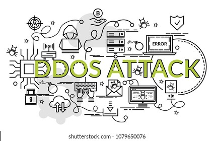 Flat colorful design concept for Ddos Attack. Infographic idea of making creative products.