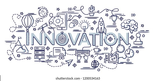 Flat colorful design concept for Innovation. Infographic idea of making creative products.Template for website banner, flyer and poster. Hand drawn doodle cartoon vector illustration.