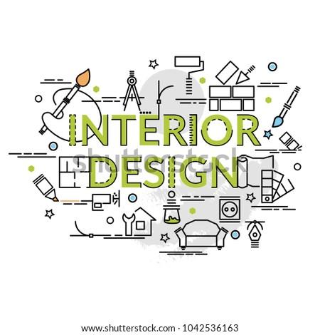 flat colorful design concept interior design stock vector royalty