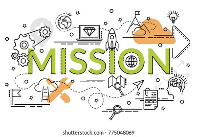 Flat colorful design concept of Mission. Infographic idea of making creative products.Template for website banner, flyer and poster.