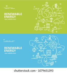 Flat colorful design concept for Renewable Energy. Infographic idea of making creative products.Template for website banner, flyer and poster.