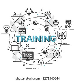 Flat colorful design concept for Training. Infographic idea of making creative products. Template for website banner, flyer and poster.
