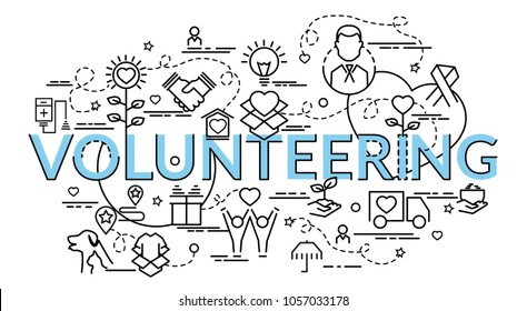Flat colorful design concept for Volunteering. Infographic idea of making creative products.Template for website banner, flyer and poster.