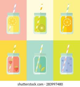 Flat colorful design style modern vector illustration set of mason jar. Summer lemonades with fruits: lemon, kiwi, orange, strawberries, mint, blueberries.