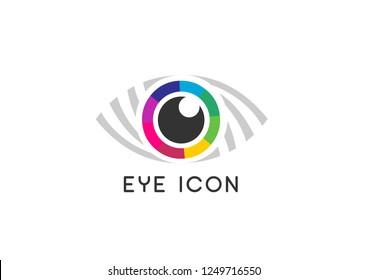 Flat colorful eye icon.