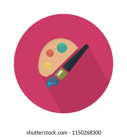 Flat Colorful Palette with Paintbrush Circle Icon with Long Shadow. Back to School and Education Vector illustration. Painting and Drawing Tool Object