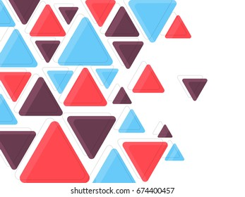 Flat colorful triangles, abstract background for brochure, flyer or presentations design, vector illustration.