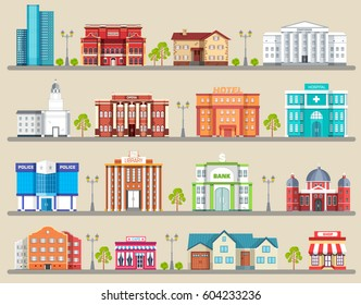 Flat colorful vector city buildings infographic Icon background concept design. Architecture construction: courthouse, home, museum, skyscraper, hospital, hotel, opera, theater. Vector urban landscape