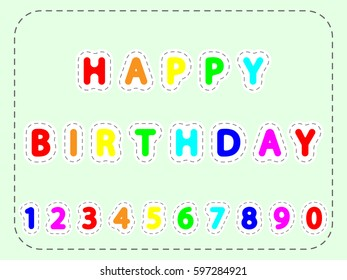 flat colorful vector lettering of happy Birthday and numerals in the frame of lines
