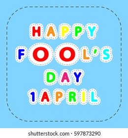 flat colorful vector lettering of happy fools day 1 april in the frame of lines