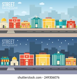 Flat colorful vector sity buildings set. Icon background concept