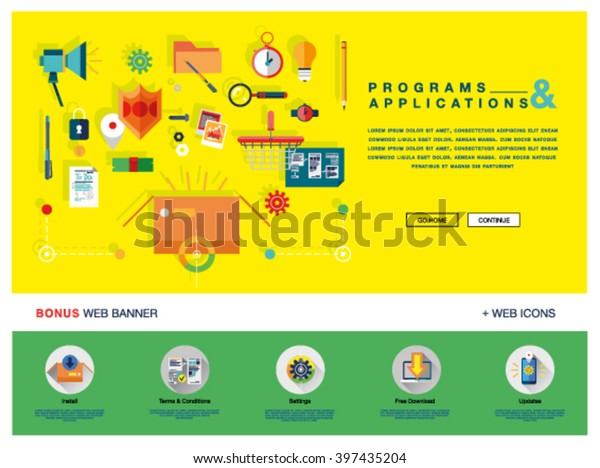 Flat Colorful Web Banner Template Design Stock Vector
