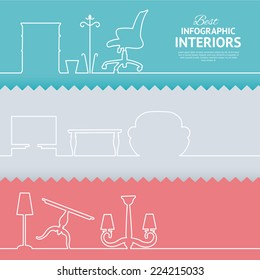 Flat colors infographics with interior design elements. Vector illustration.